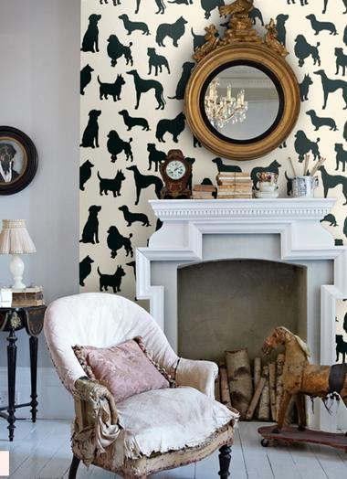 Trends Dog Wallpaper Decor Wallpaper fireplace, Home