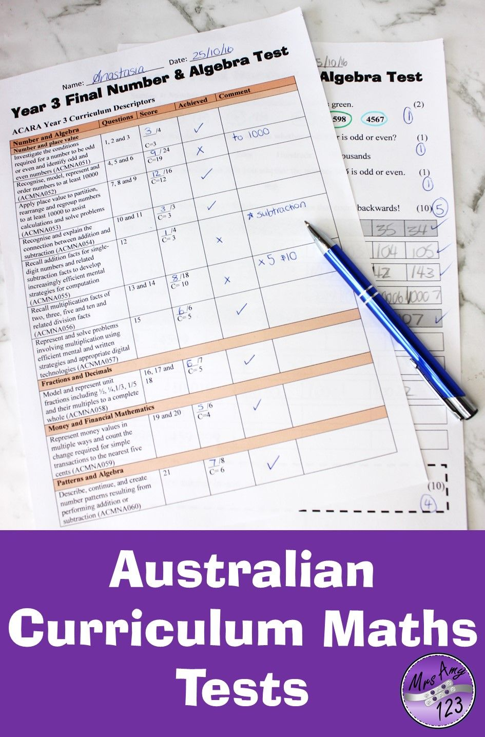 These Australian Curriculum Mathematics tests are available for ...