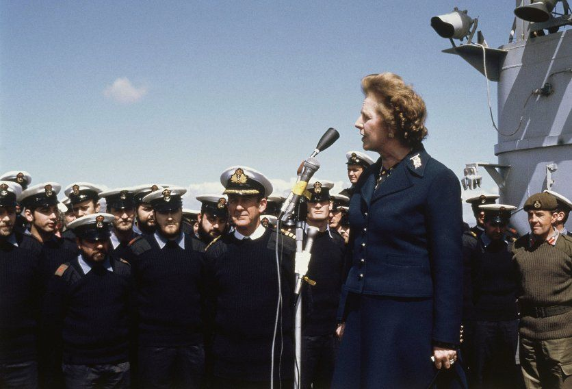 Thatcher makes an address to the men of the HMS Antrim during her surprise visit to the Falkland Islands.