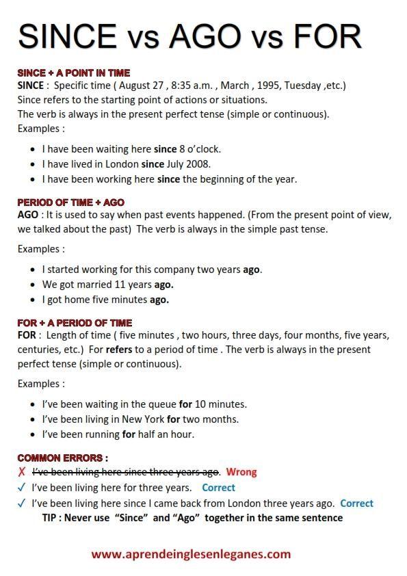 Since vs ago vs for prepositions of time. English | grammar/tenses.