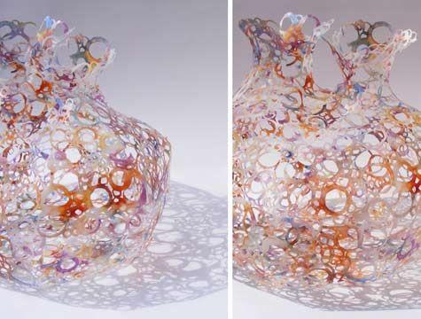 Caroline Saul Recycled Plastic Milk Bottle Art Upcyling