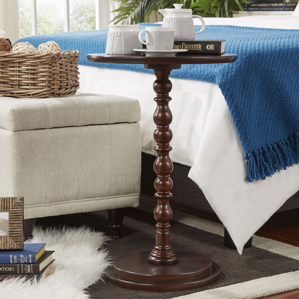 Round Accent End Side Table Night Stand Wood Hallway Living Room Furniture