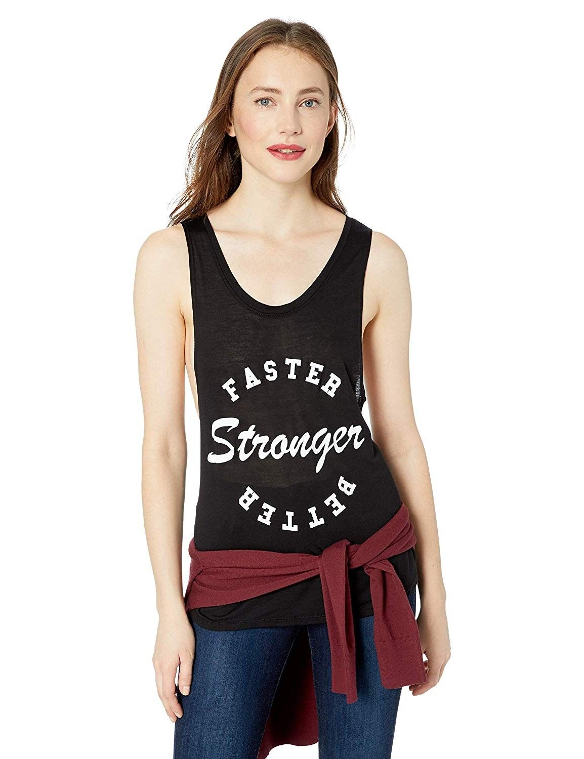 Women's Faster - Stronger Muscle Tank - Black W/White Text - C418GE92G2O - Sports & Fitness Clothing...