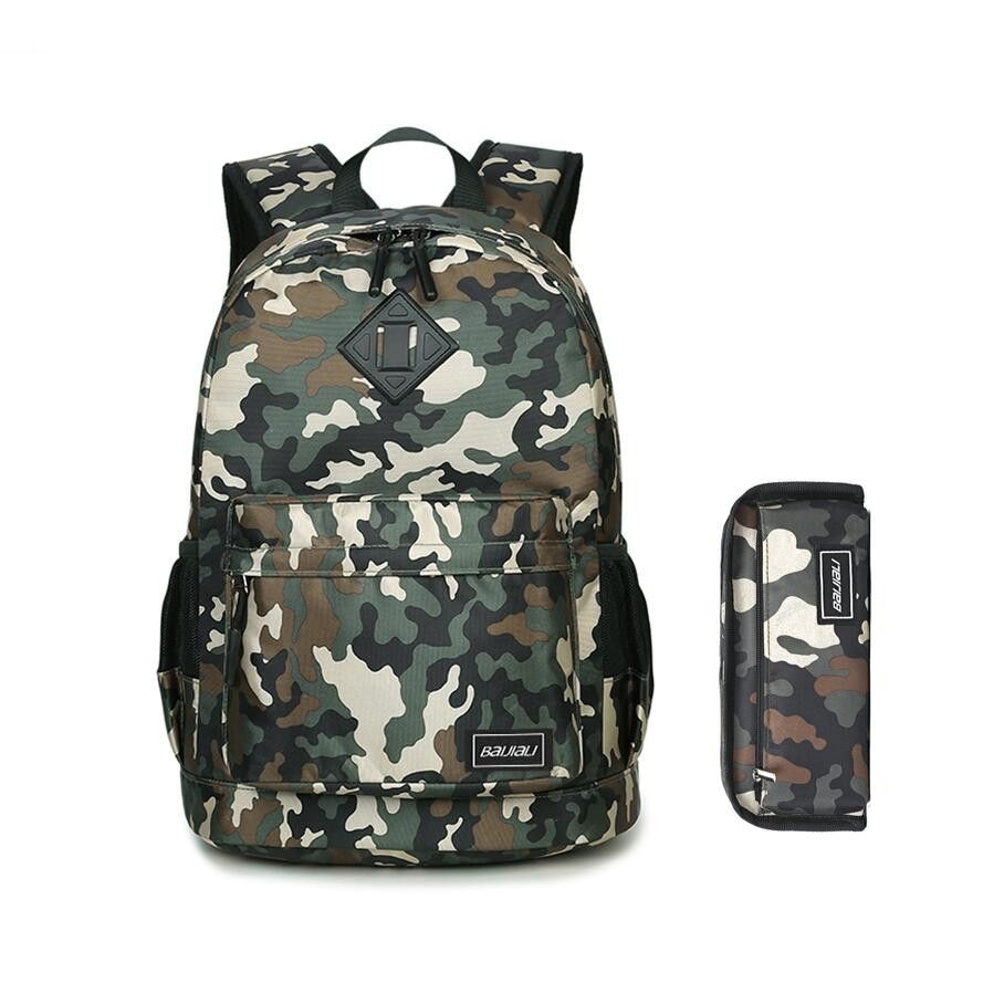 2949b712fe  30% off  2pcs set kids army green camouflage backpack for boy student pen