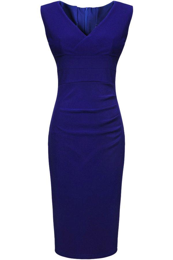 Blue V-Neck Sleeveless Dress   solo vestidos   Pinterest   Ropa y ...