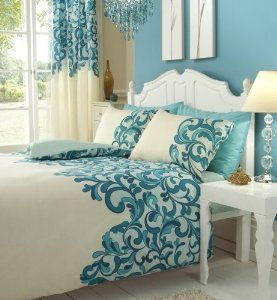 Teal Cream Double Bed Set With Matching Curtains 66 X 72 Sheet