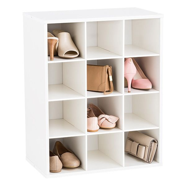 Our Stackable 12 Pair Shoe Organizer Is Constructed From Sturdy Particleboard With A Durable White Shoe Organizer Shoe Organization Closet Shoe Cabinet Design