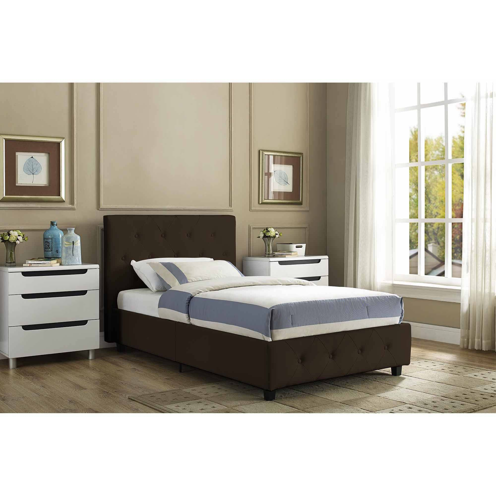 Stratus Queen Upholstered Bed, Black Faux Leather - Walmart.com ...