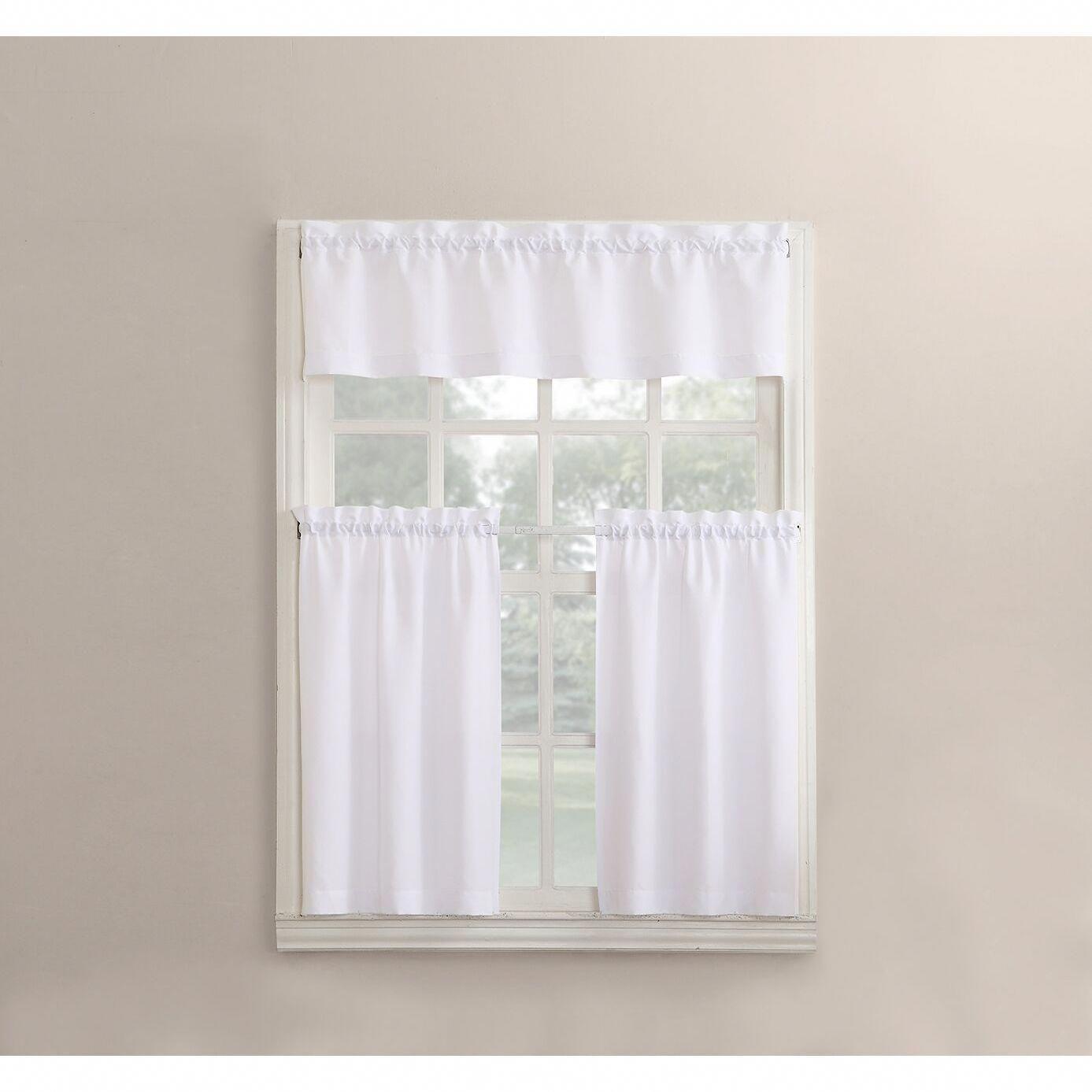 No 918 Martine Solid Microfiber 3 Piece Kitchen Curtain Valance