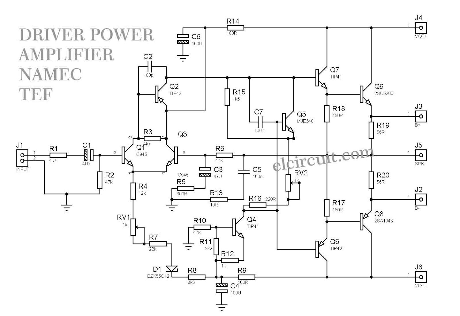 1000W Driver Power Amplifier Namec TEF - Electronic Circuit Electronic  Circuit, Circuit Diagram, Audio