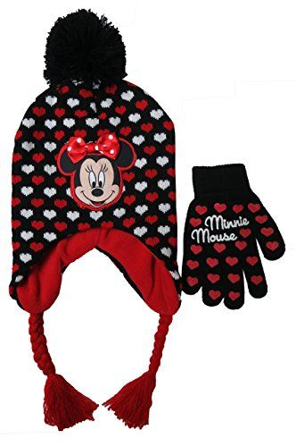 327b4413 Disney Minnie Mouse Rocks The Dots Black Scandinavian Hat and Gloves Set –  Size Girls 4-14 [4013]