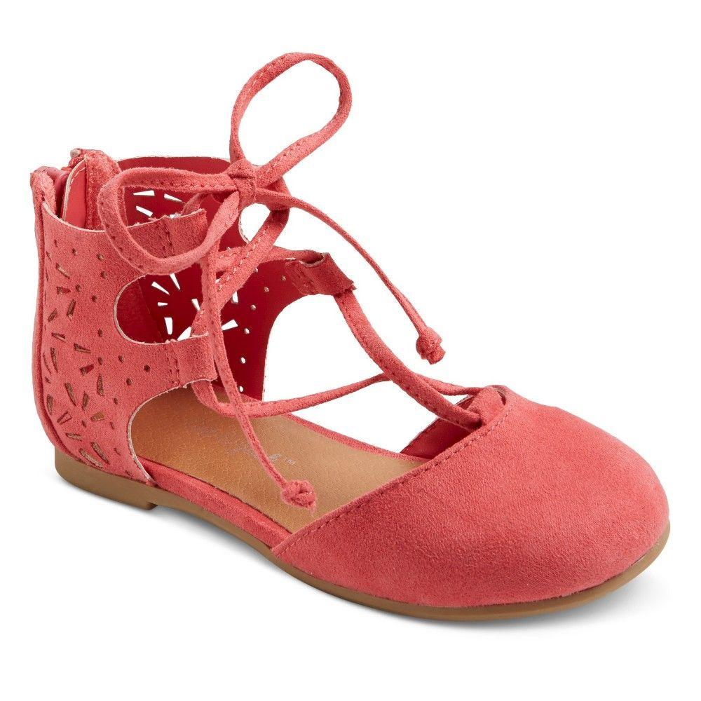 Toddler Girls' Tenley Ghillie Ballet Flats Cat & Jack - Coral (Pink) 7, Toddler Girl's