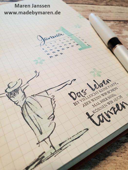 Deckblatt Januar in meinem Bullet Journal - Stampin`Up! ...made by Maren