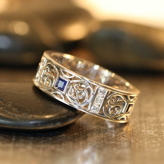 Celtic Wedding Band Princess Cut Sapphire And Diamond Wedding Ring 14k White Gold Mens Sapphire