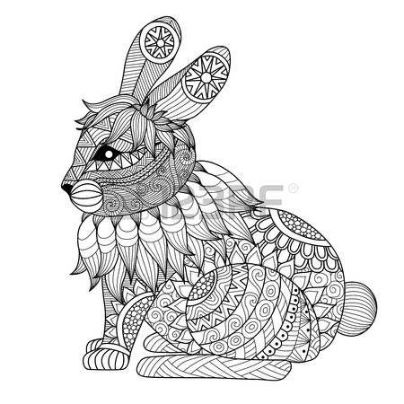 Dibujo de conejo zentangle de la página para colorear, camisa efecto ...