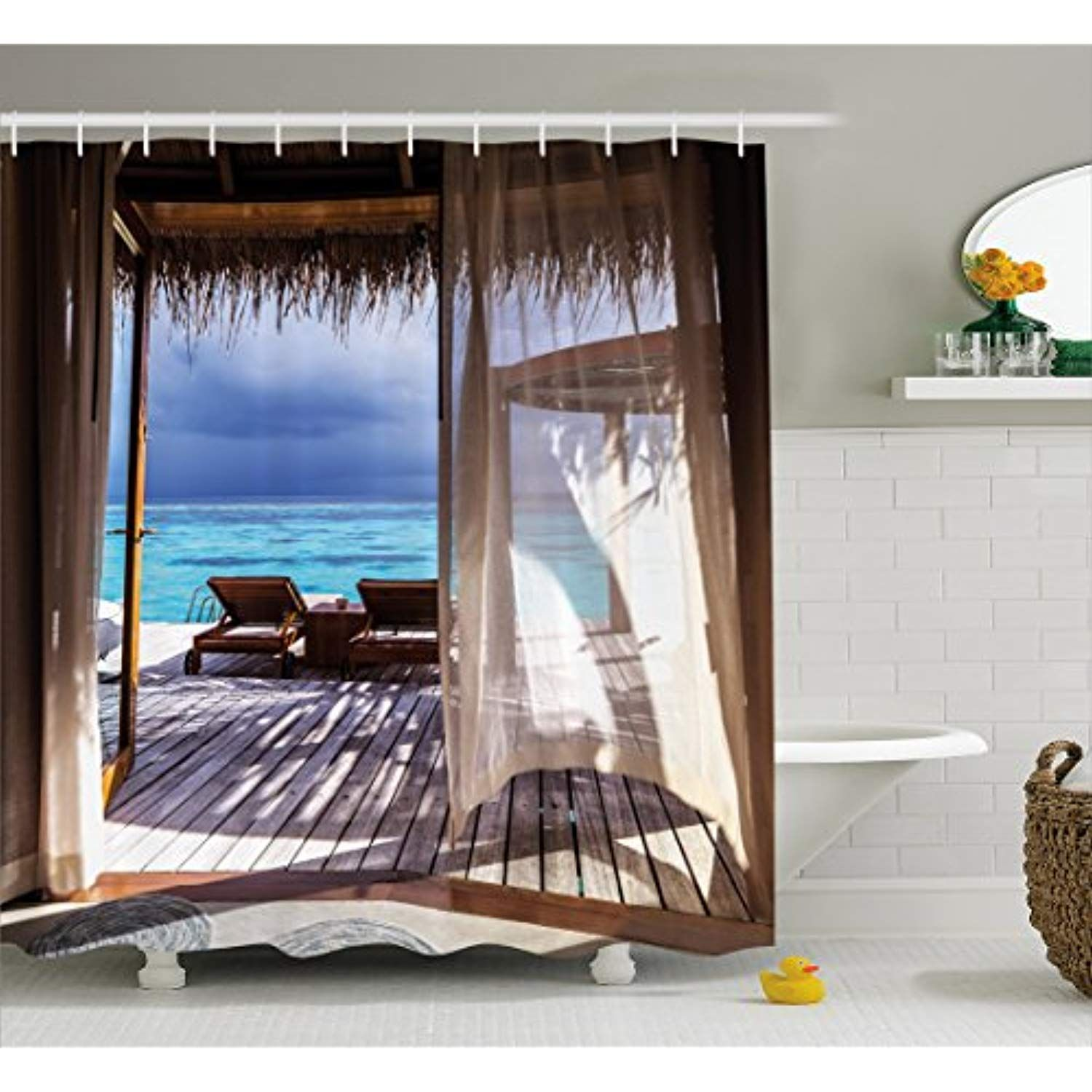 Ambesonne Coastal Decor Shower Curtain By Luxury Romantic Wooden