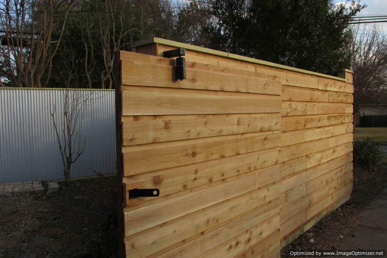 Board On Batten Horizontal Fence Half Lap Wood Framed Slider Gate