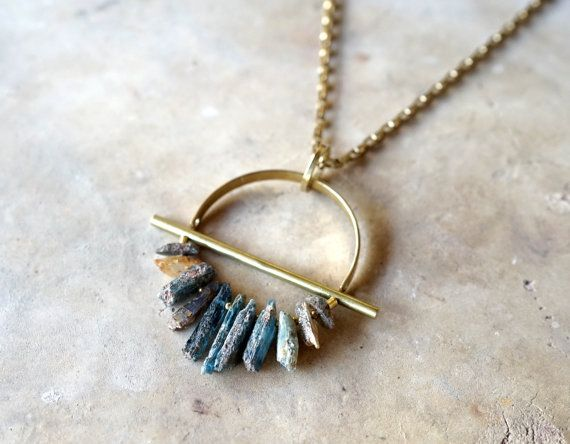 Photo of DRIFTER, Raw Kyanite & Brass Necklace, Kyanite Pendant,Kyanite Necklace, Gift For Her, Unique Gift, Modern Brass Jewelry, Stocking Stuffer