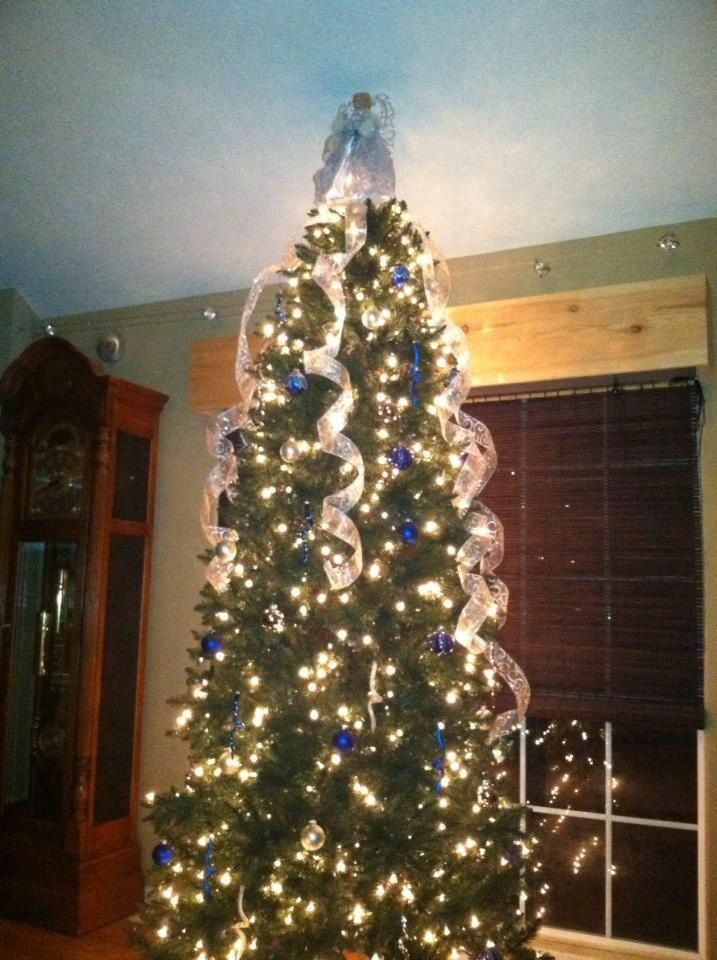 Blue silver and white christmas tree Decor for the holidays
