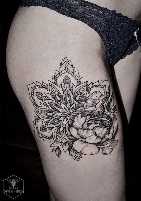 c555d7525f823 Mandala and flower thigh tattoo - Compact and beautiful black and white  mandala tattoos. The tattoos tell a lot about the person's life, the pretty  designs ...
