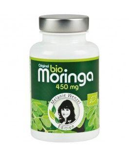 """MORINGA 450mg - Melanie Wenzel Edition - Bio - Die Moringa Pflanze enthält: 4 x mehr Vitamin A als Möhren, 7 x mehr Vitamin C als Orangen, 4 x mehr Kalzium als Milch, genau so viel Eiweiß wie Eier, 3 x mehr Kalium als Bananen, 2 x mehr Proteine als Soja, sehr große Mengen an natürlichem Chlorophyll, einen hohen Anteil an ungesättigten Fettsäuren (Omega 3, 6, 9), etc. und wird deshalb oft als """"Wunderpflanze"""" bezeichnet."""