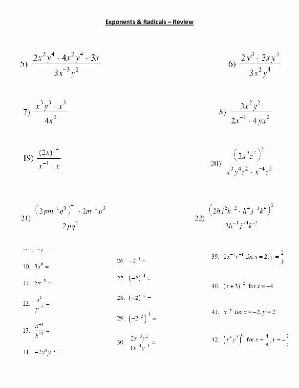 Radical and Rational Exponents Worksheet Luxury Exponents