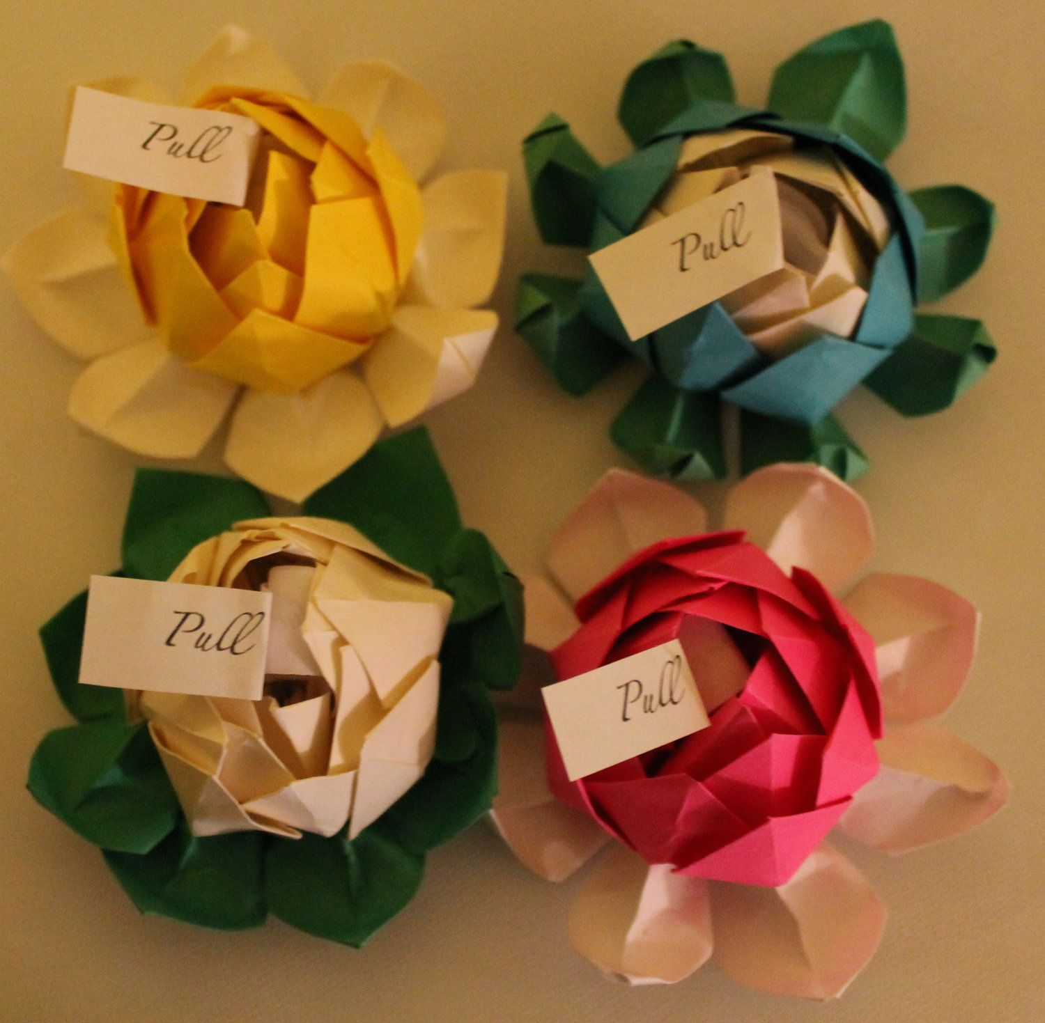 Ten 10 Origami Lotus Flower Wedding Favors Any Color 2200 Rose Diagram Rosebox Via Etsy