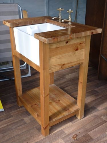 Belfast Sink In Free Standing Pine Unit Free Standing Kitchen Sink Kitchen Sink Diy Freestanding Kitchen
