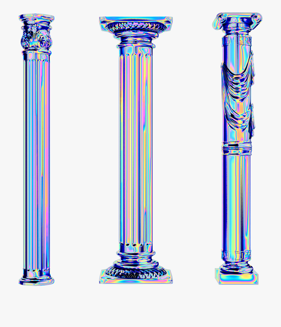 Holo Column Greek Roman Holo Holographic Vaporwave Vaporwave Column Png Transparent Cartoons Greek Pedestal Clipart Vaporwave Greek Columns Holographic