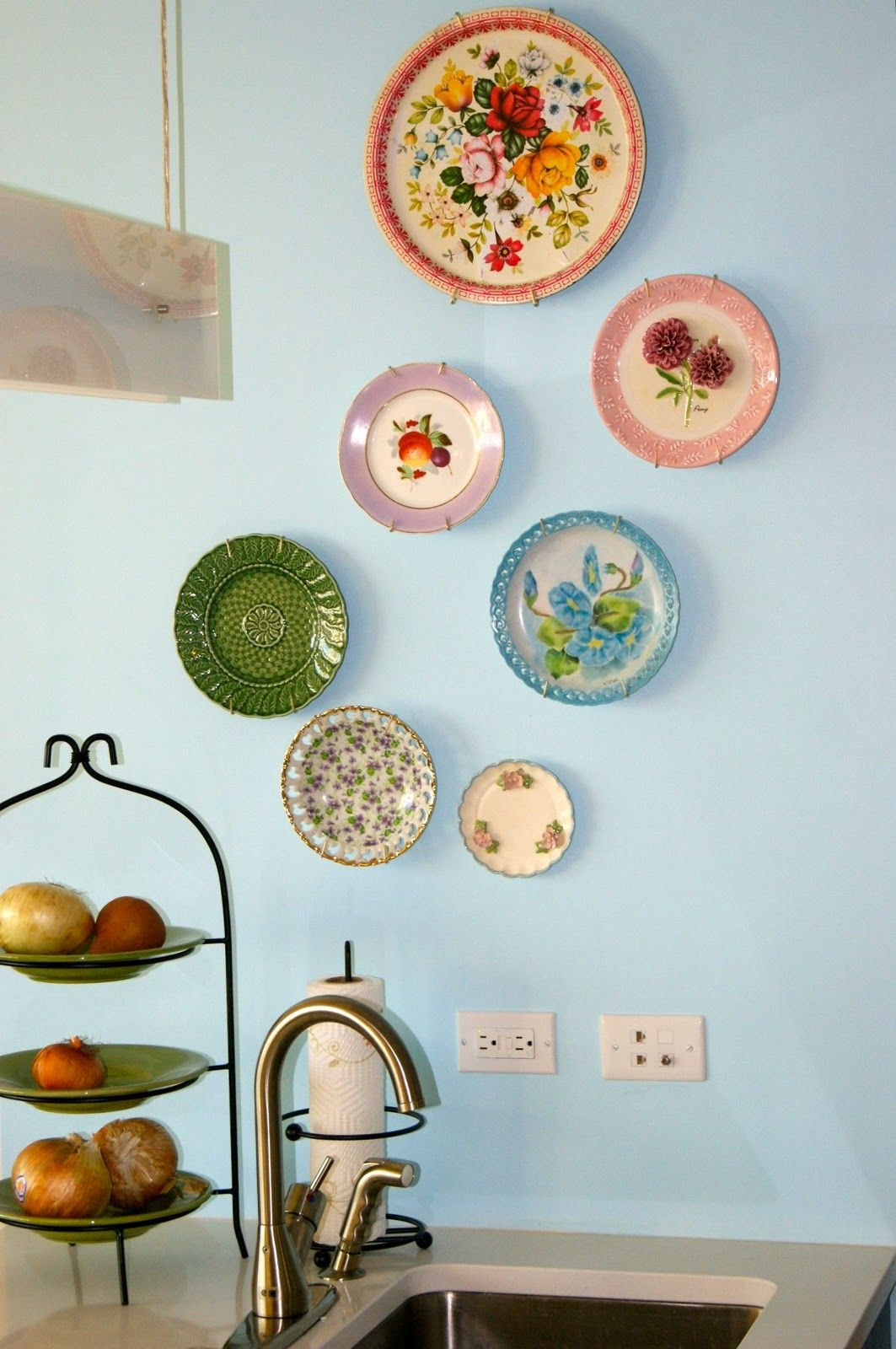 Light blue is a great background for any color plate.  Plates on