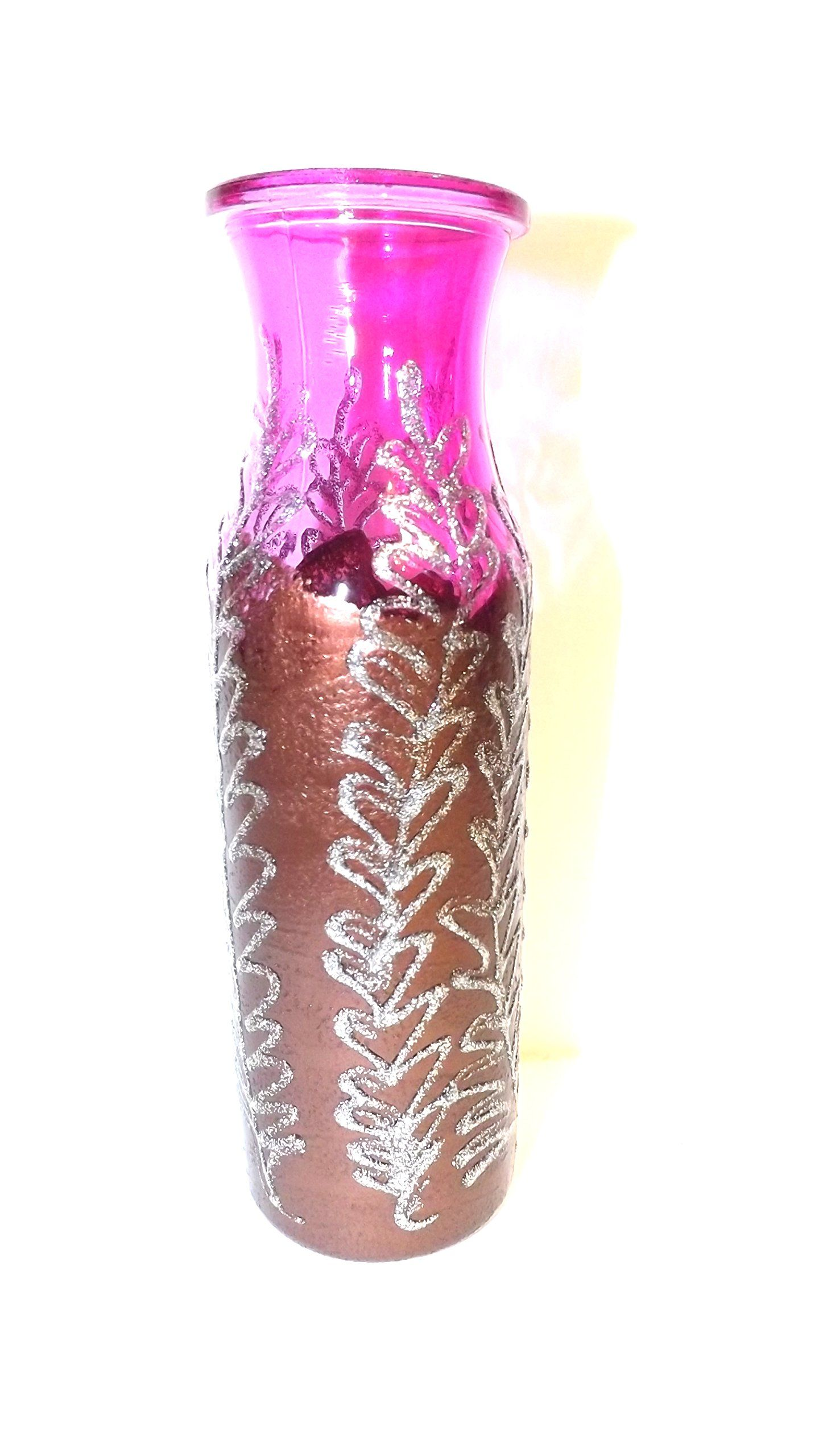 Beautiful hand painted vase Pink and Bronze