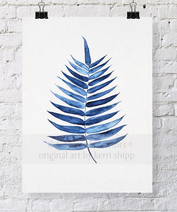 Palm Leaf Tropical Wall Art Watercolor Print 11x14 Blue Palm Wall