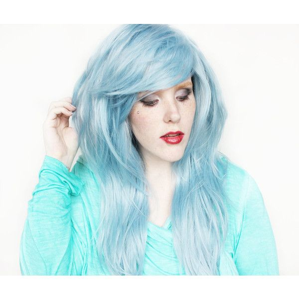 Blue Wig Blue Scene Wig Scene Emo Wig Pastel Wig Long Scene Wig Scene... ($86) ❤ liked on Polyvore featuring beauty products, haircare, hair styling tools, bath & beauty, hair care, silver, wigs, flat iron, straightening iron and styling iron