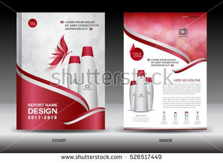 Annual Report Brochure Flyer Template, Red Cover Design, Cosmetics