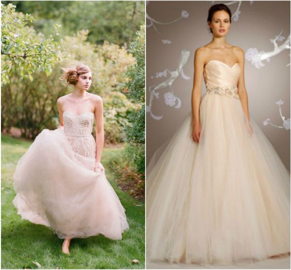blush colored wedding dresses with flower belt | Bridal Trend: Blush ...