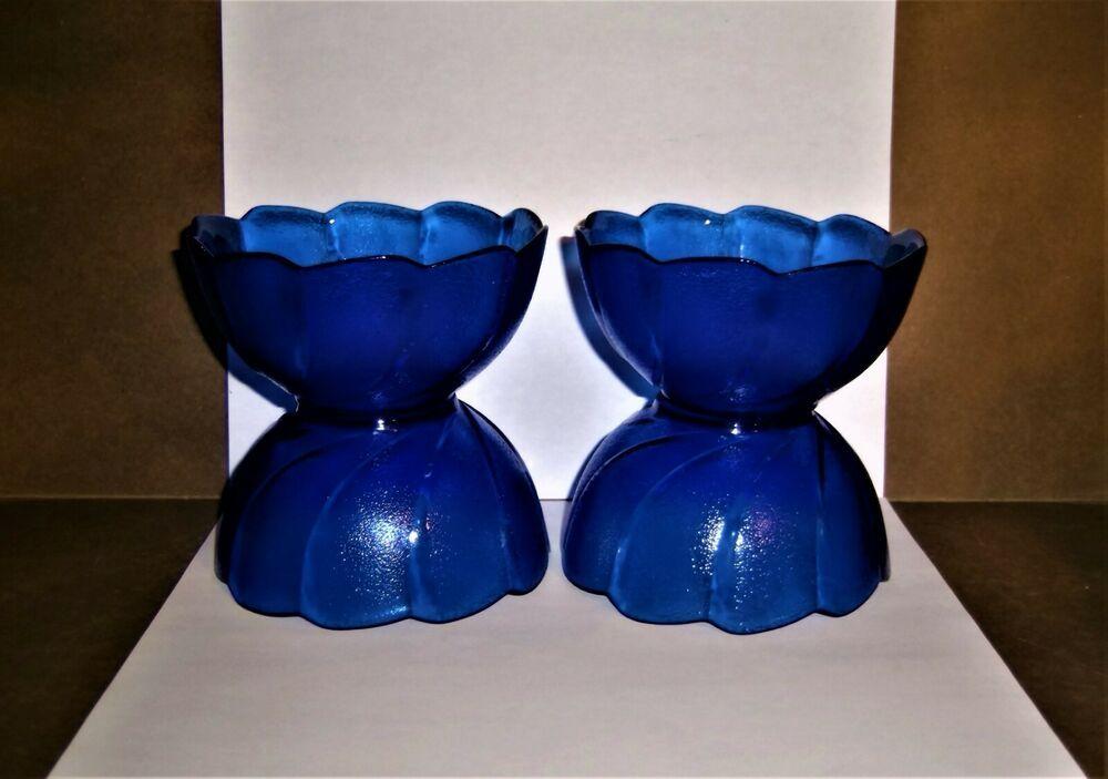 Cobalt Blue Glass Bowls 4 Dessert Arcoroc France Vintage Scallop