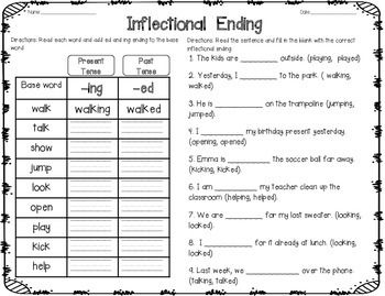 Inflectional Ending (-ed/-ing) | Sentences, Worksheets and Activities