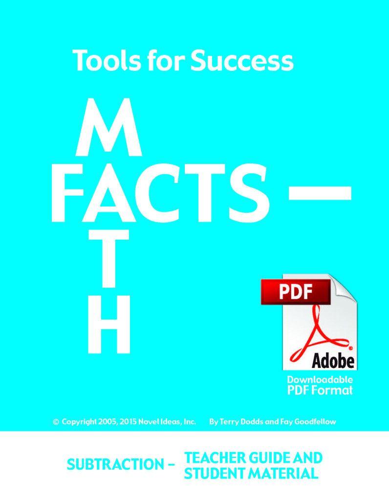 Tools for Success: A Math Facts Program - Subtraction (Teacher Guide ...