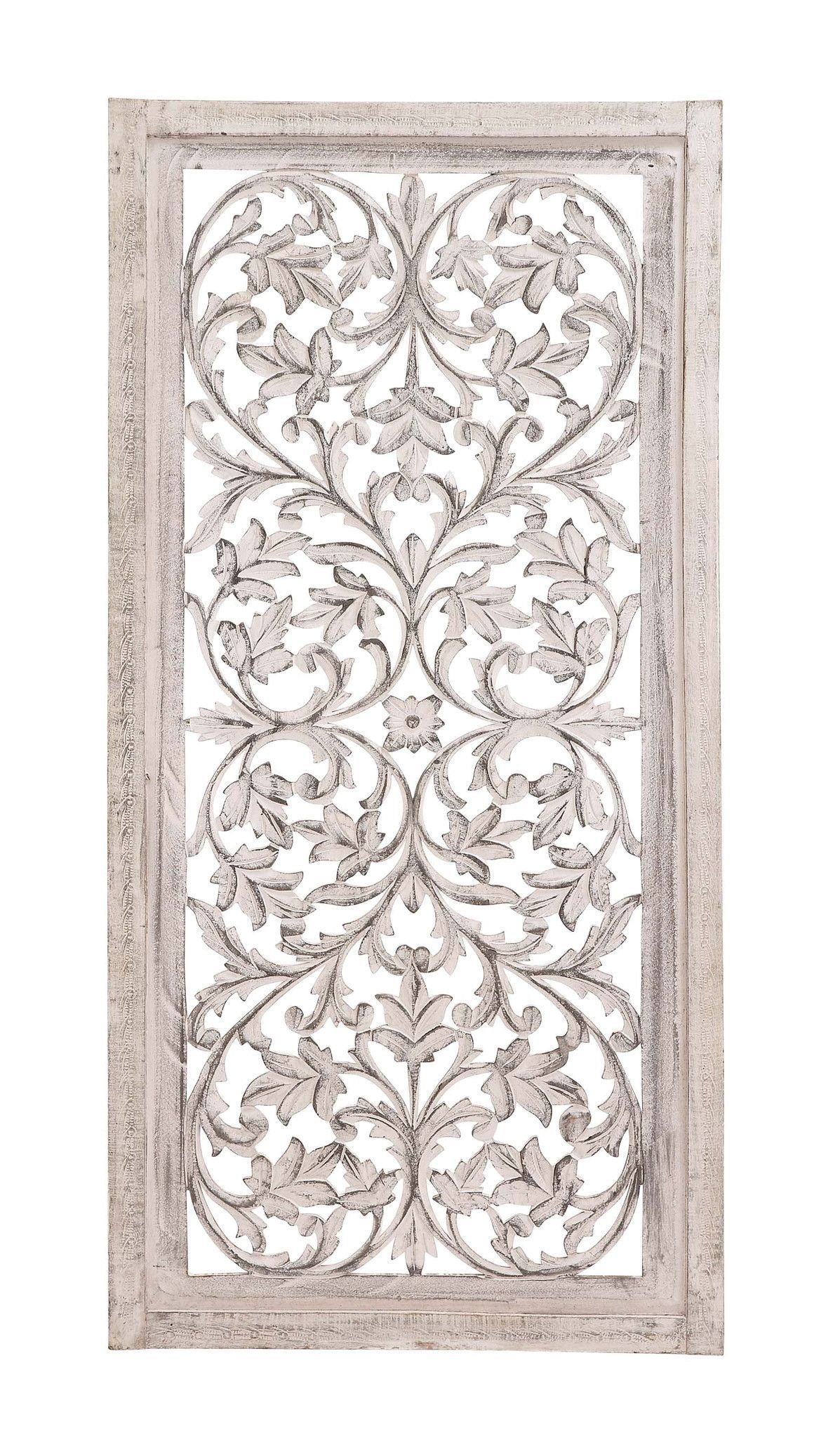 "White Wood Wall Art 51"" Shabby White Moroccan Leaf Wood Wall Art Panel French Country"