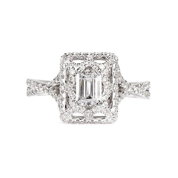 Vera Wang Love Tiara - diamond engagement ring (€4.830) ❤ liked on Polyvore featuring jewelry, rings, white, bridal engagement rings, diamond jewelry, emerald cut diamond ring, bridal wedding rings and emerald cut engagement rings