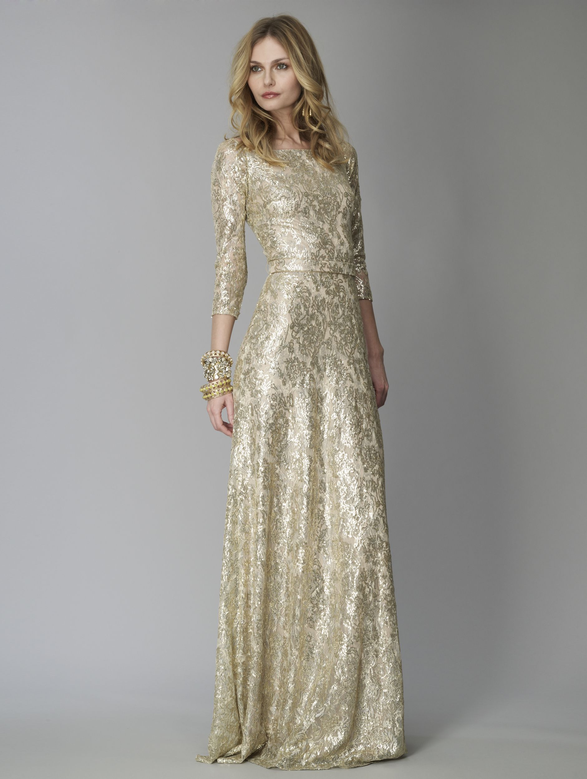 David Meister\'s Gold Sequin Metallic Lace Gown. | Spring 2012 ...
