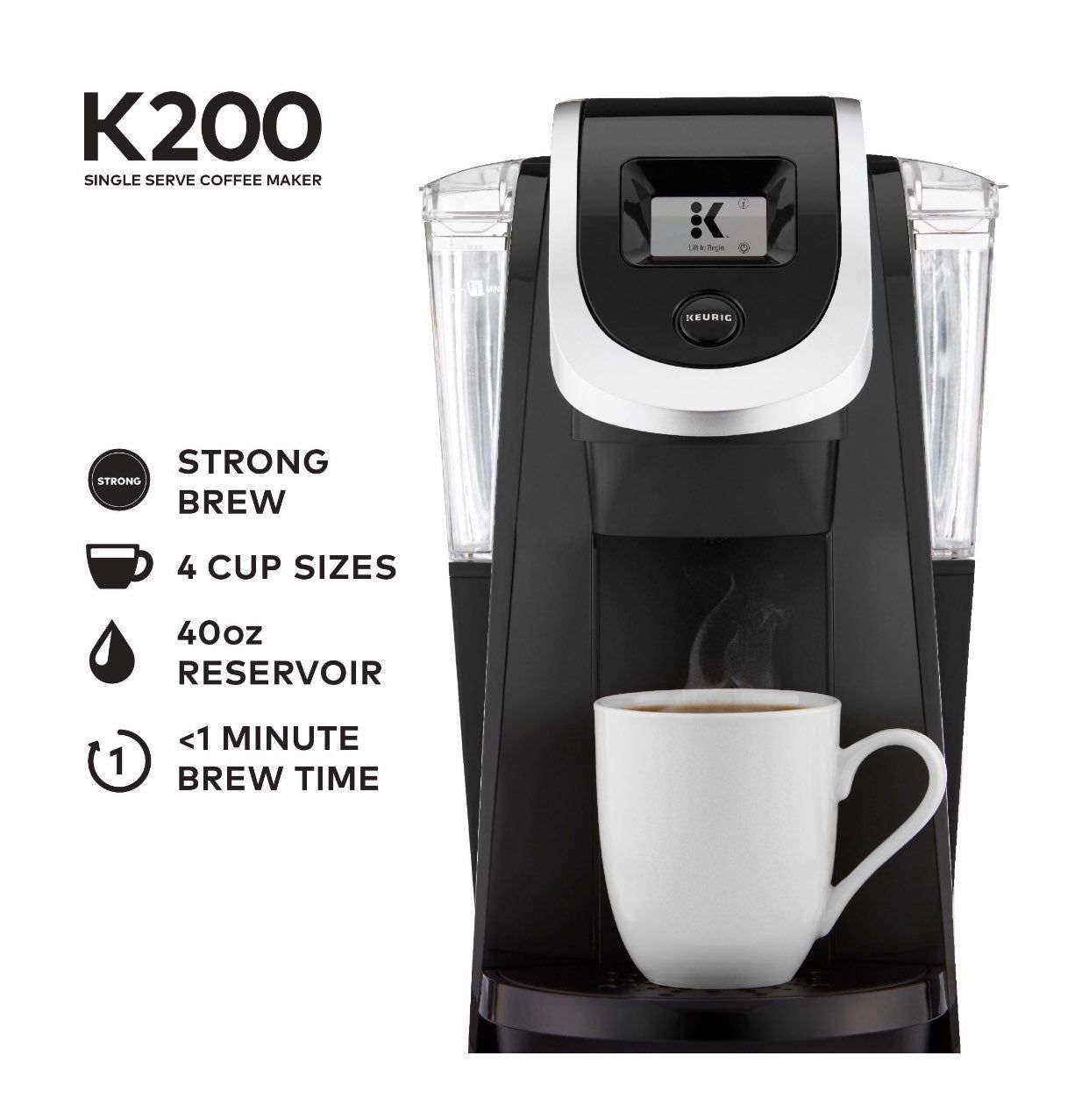 Keurig K200 Single Serve Black KCup Pod Coffee Maker New