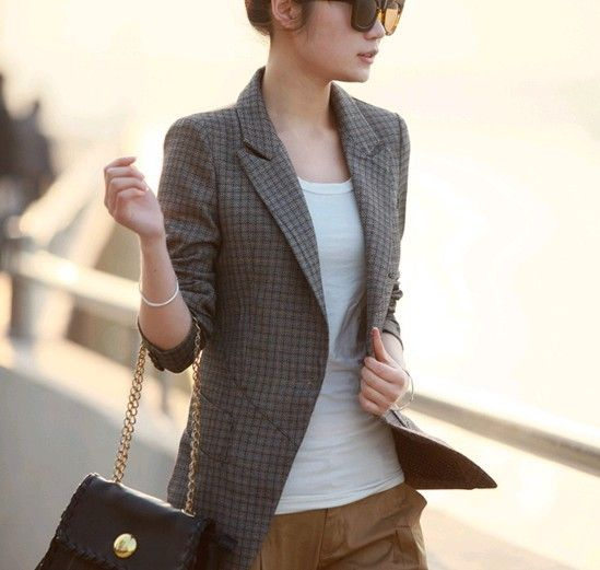 Plaid Blazer Women S Photo Album - Reikian