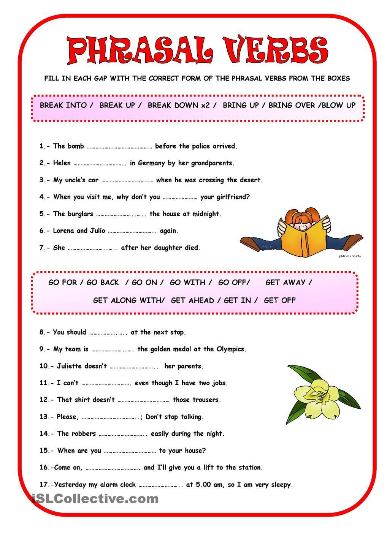 PHRASAL VERBS Aulas de inglês, Atividades de ingles, Aulas