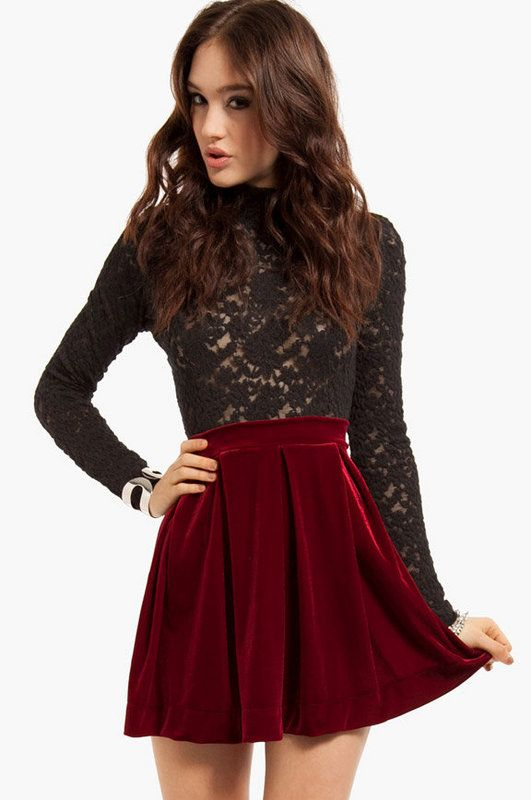 62e04ae94785aa Red velvet skirt. I need this in my life for the holidays | Fall ...