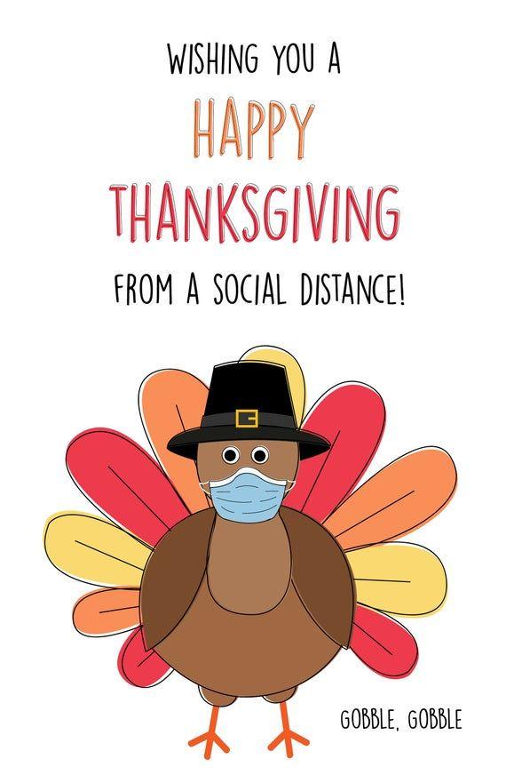 Thanksgiving card, quarantine thanksgiving card, Thanksgiving social distant card, thinking of you c