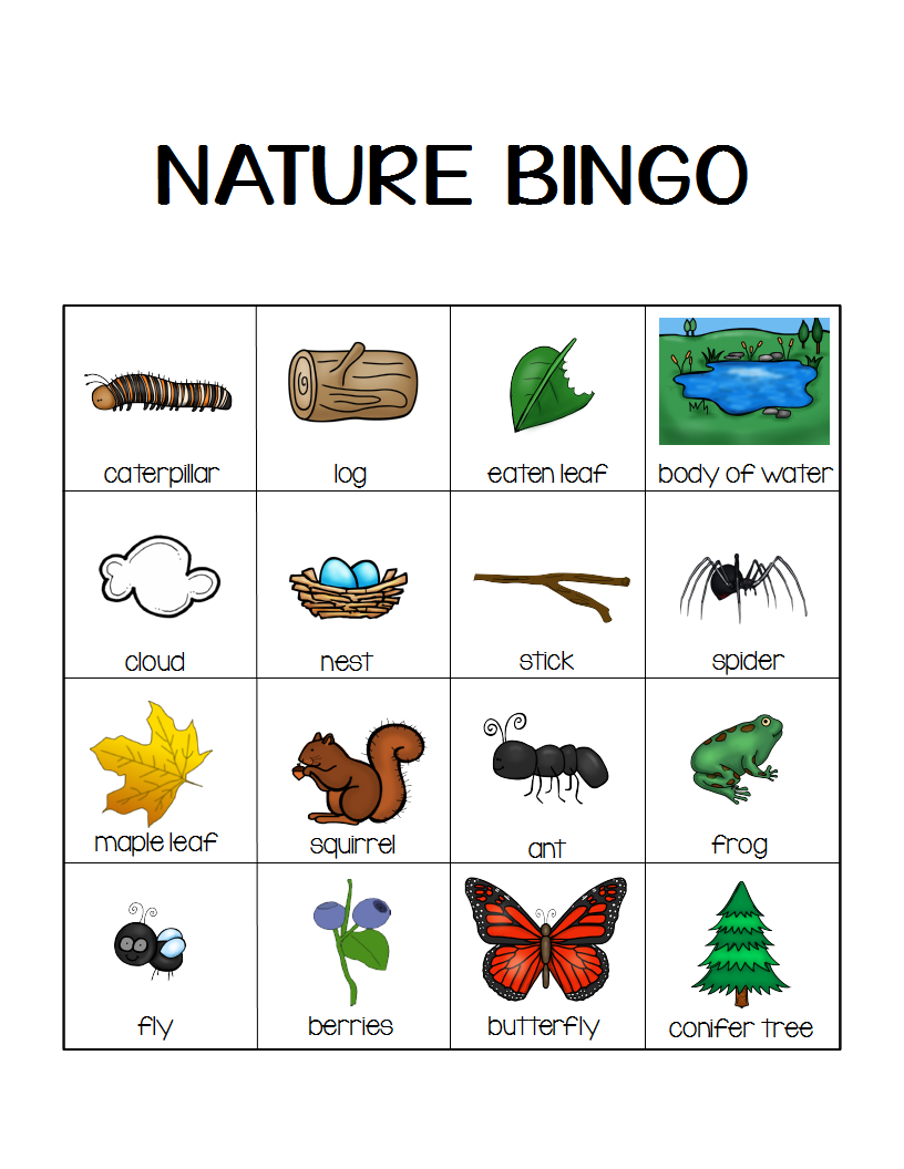 nature bingo printable activity take a hike with your kids camping theme activities and. Black Bedroom Furniture Sets. Home Design Ideas