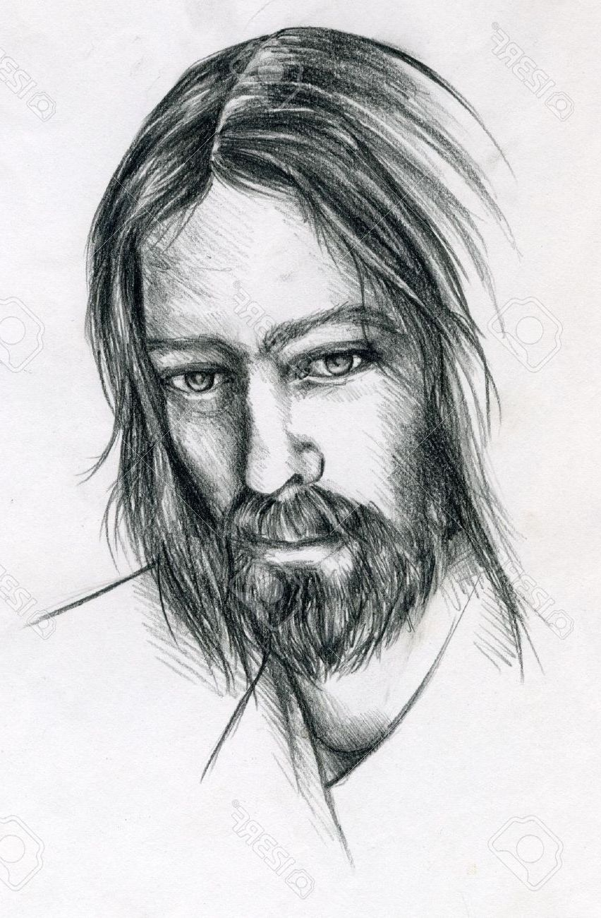 Pencil drawing of jesus christ jesus face stock photos images