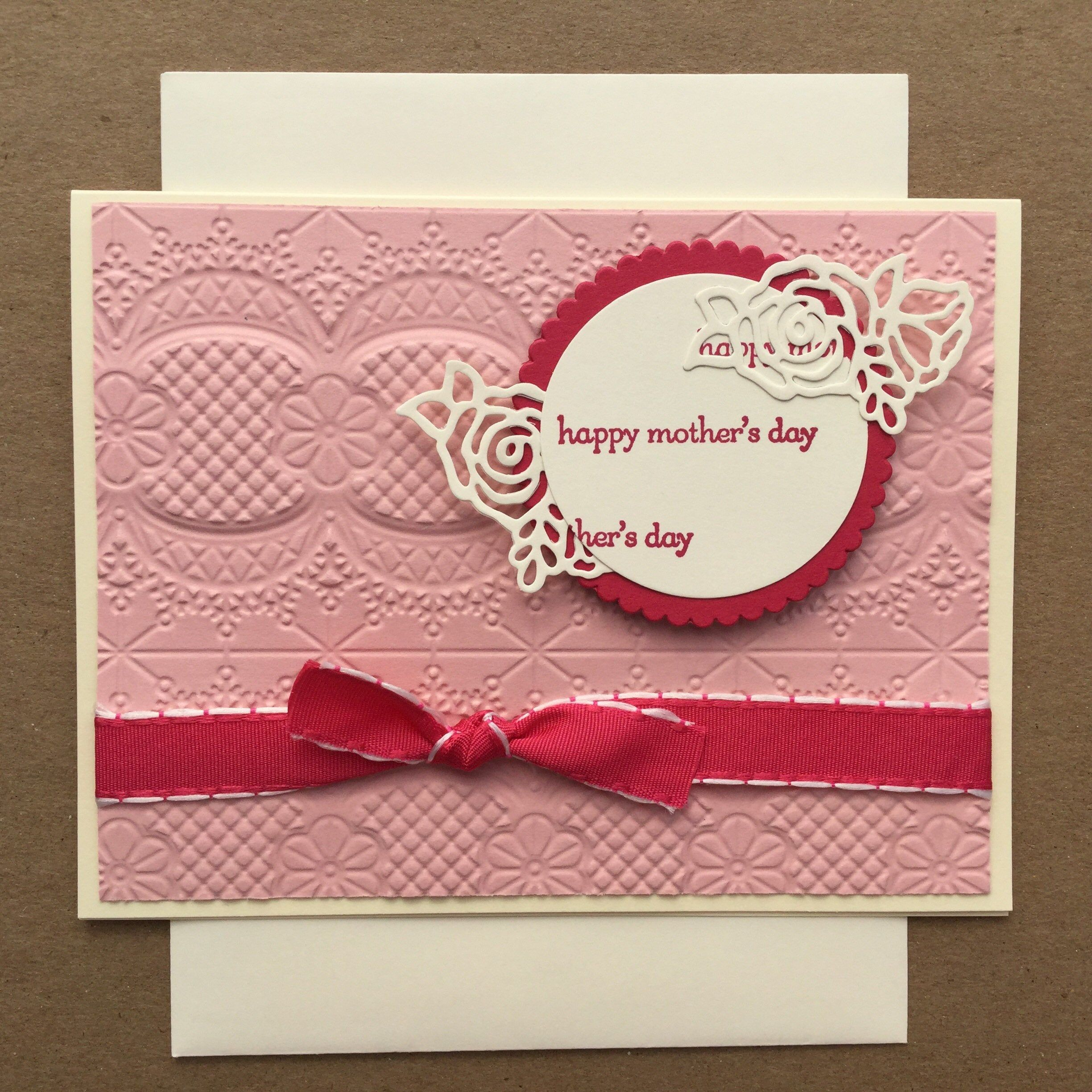 Handmade happy mothers day card hand stamped card mothers