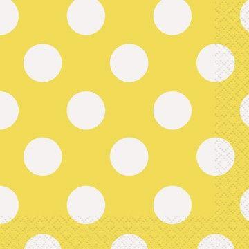 Sunflower Yellow Polka Dot Napkins #polkadots